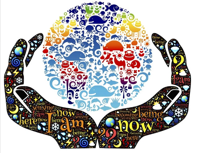 Hand symbol affirmations manifesting various colours manifesting creatures