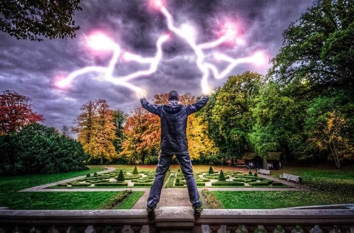 man with lightning coming of his hands
