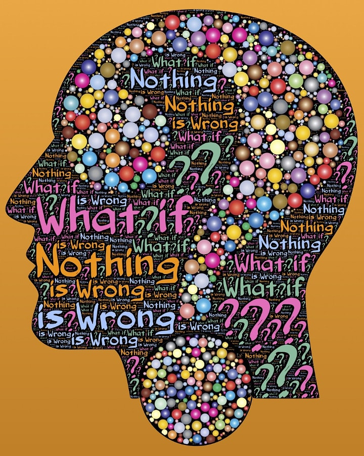 Head full of words with colours and a big question mark