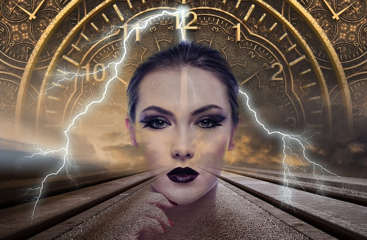 woman with lightning and clocks behind her