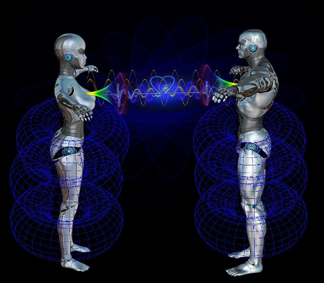 Male and female robots looking at each other connected by the heart and superconscious