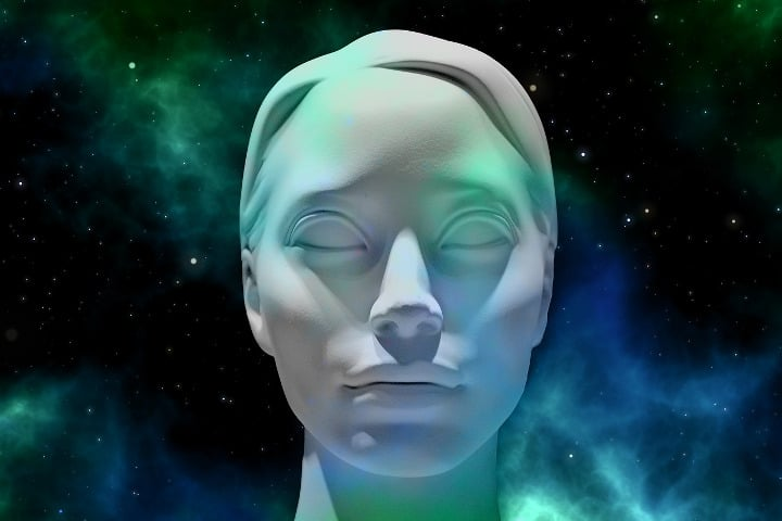 outline of statues face with the universe behind
